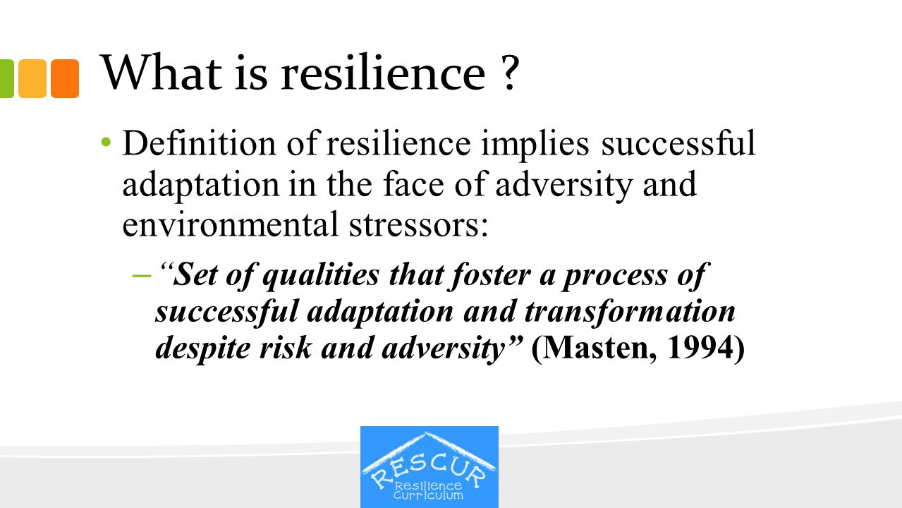 What is resilience Definition of resilience implies successful adaptation in the face of adversity and environmental stressors: