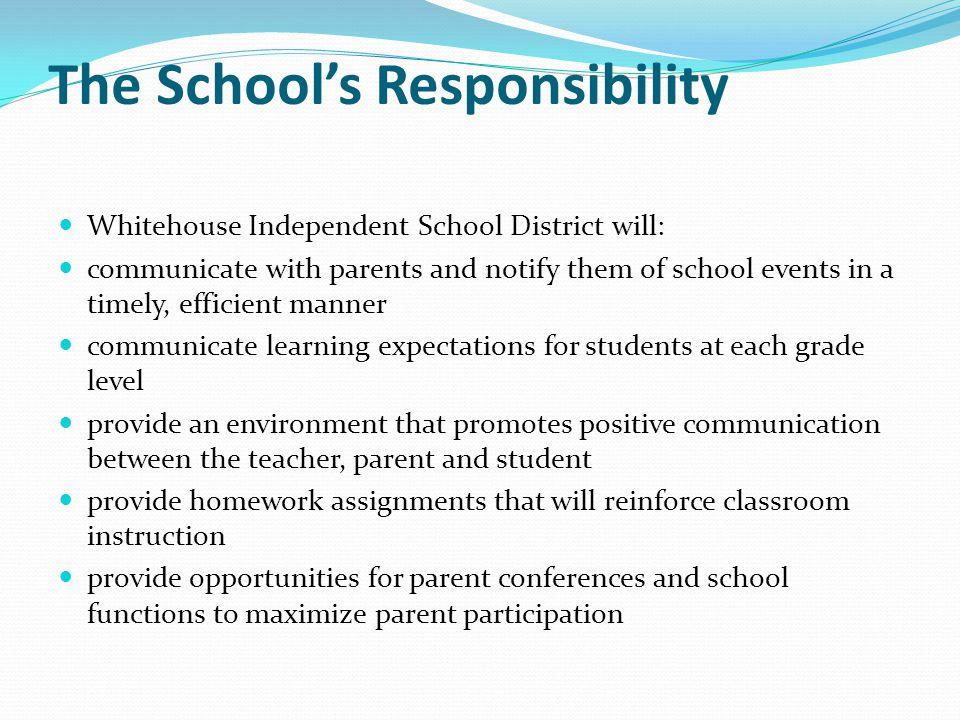 The School's Responsibility