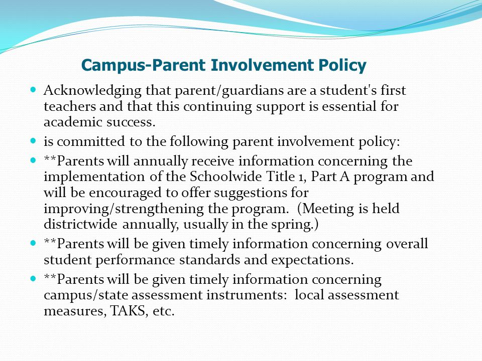 Campus-Parent Involvement Policy