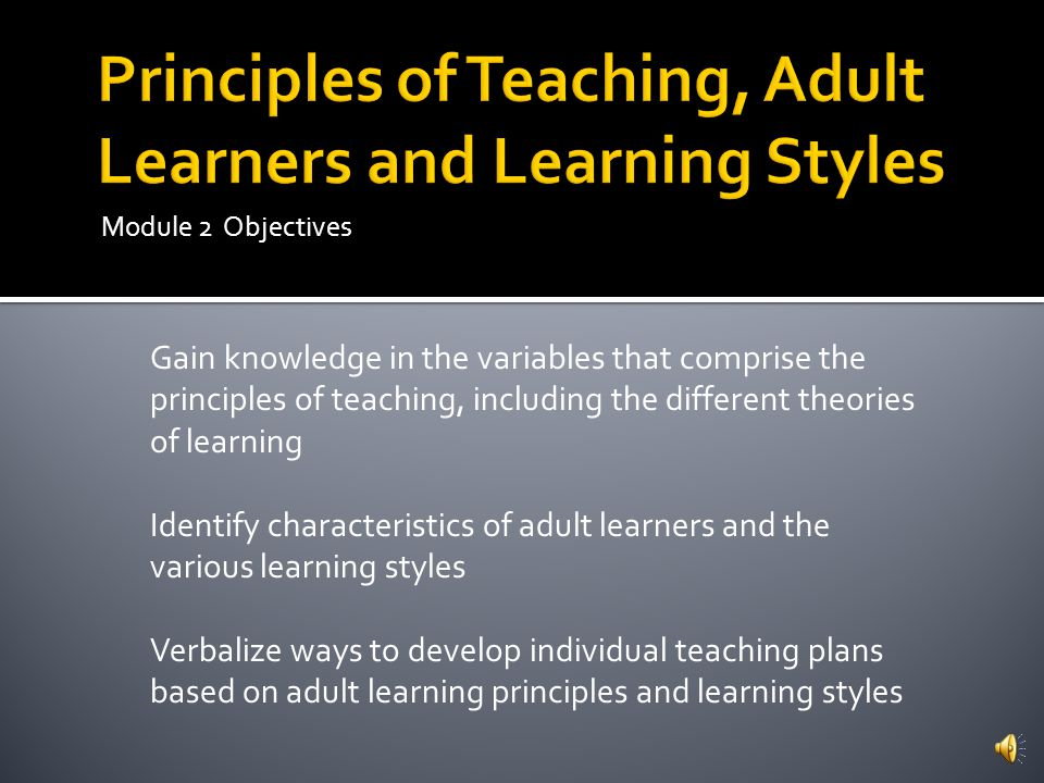 for adults presentation styles Learning