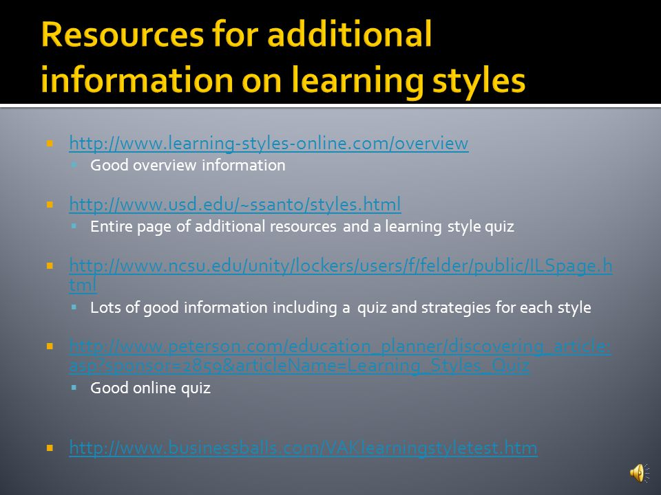 Resources for additional information on learning styles