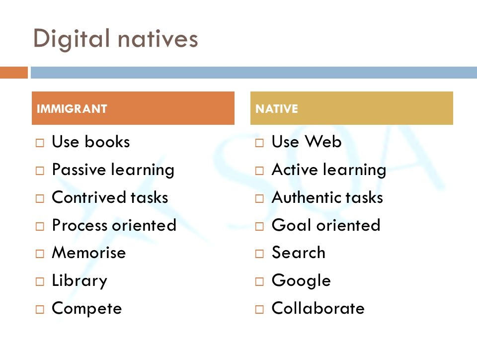 Digital natives Use books Passive learning Contrived tasks