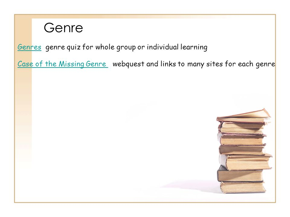 Genre Genres genre quiz for whole group or individual learning