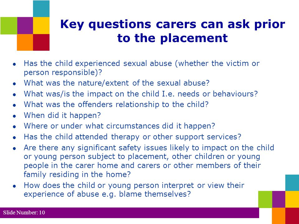 Key questions carers can ask prior to the placement