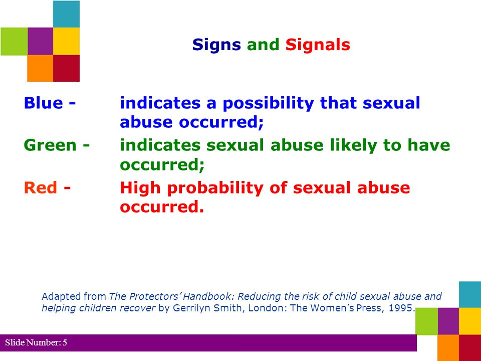 Blue - indicates a possibility that sexual abuse occurred;