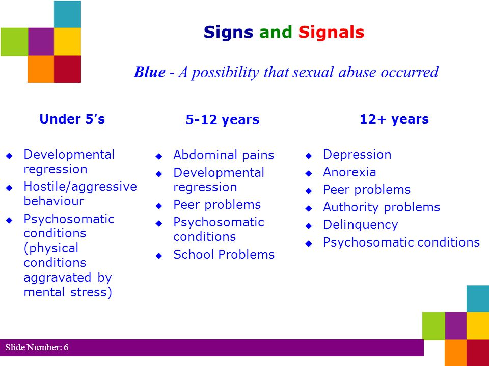 Blue - A possibility that sexual abuse occurred