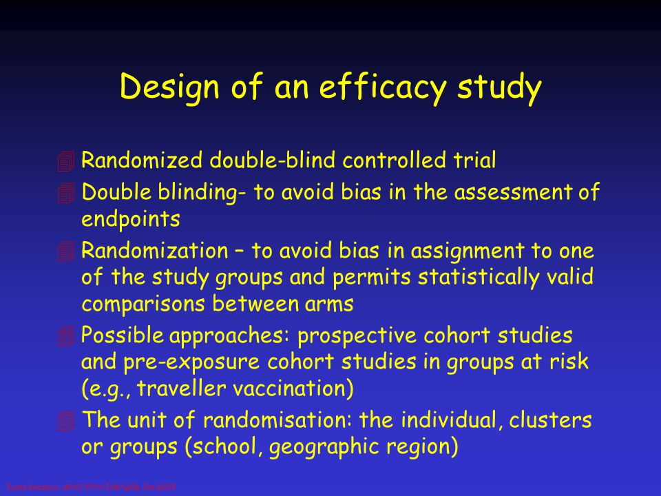 Design of an efficacy study