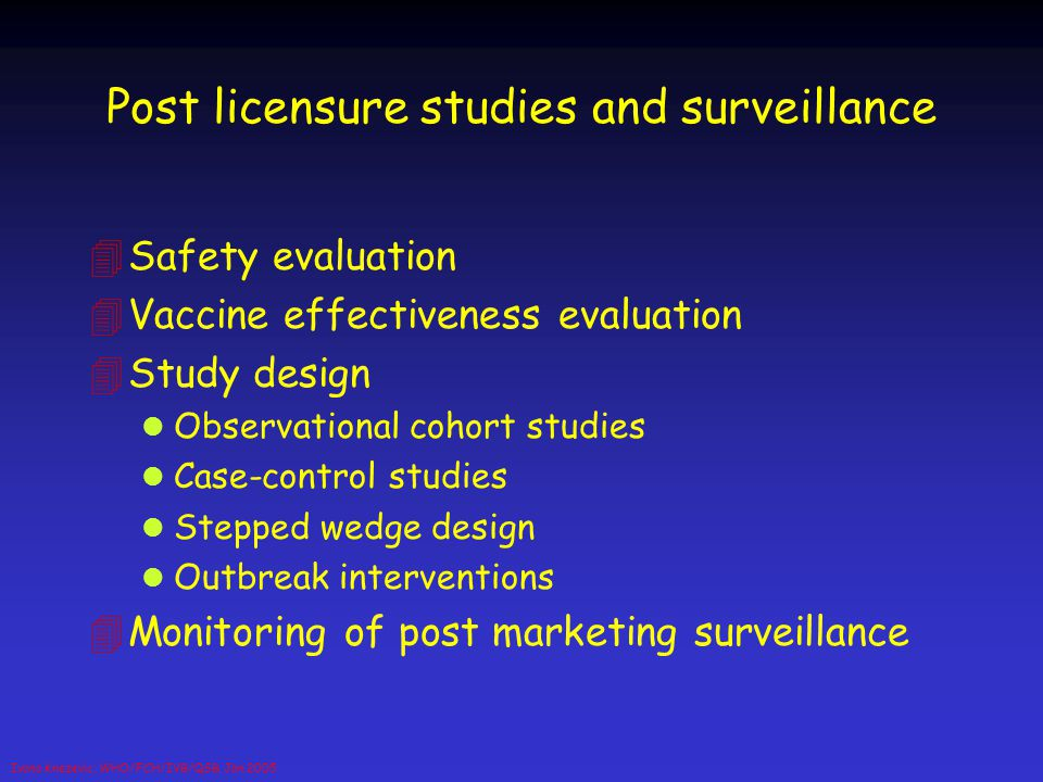 Post licensure studies and surveillance