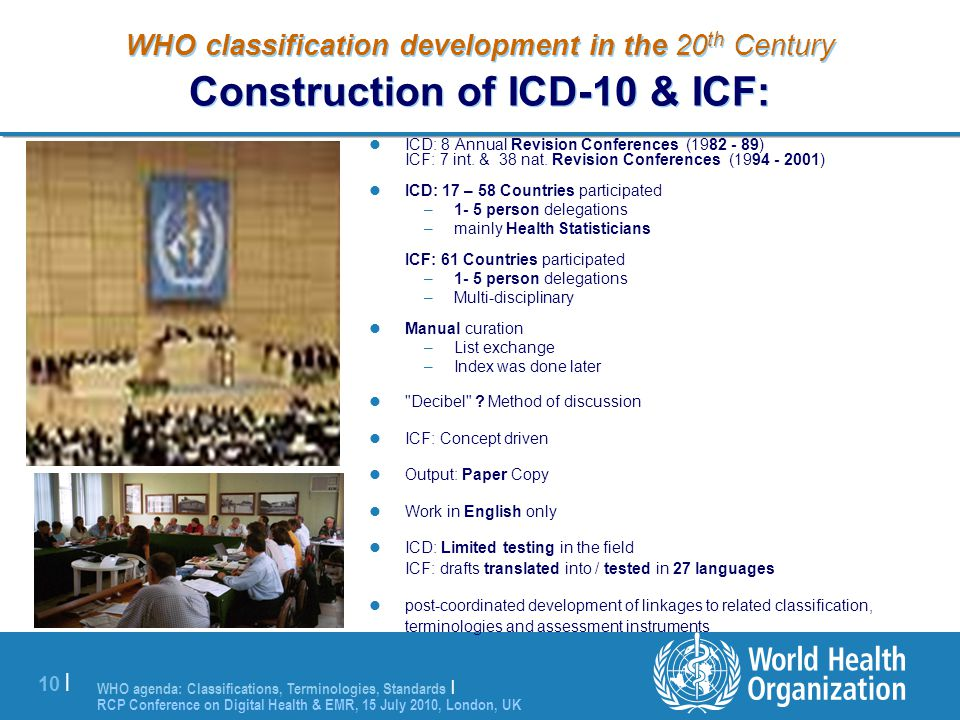 WHO classification development in the 20th Century Construction of ICD-10 & ICF: