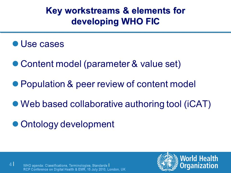 Key workstreams & elements for developing WHO FIC