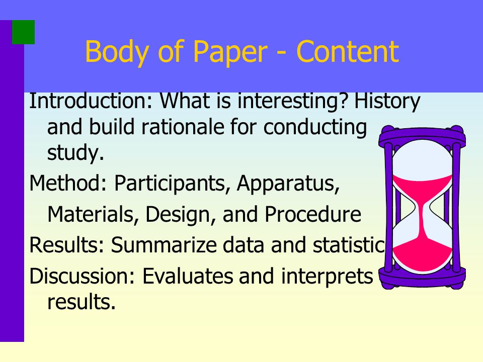 Body of Paper - Content Introduction: What is interesting History and build rationale for conducting study.