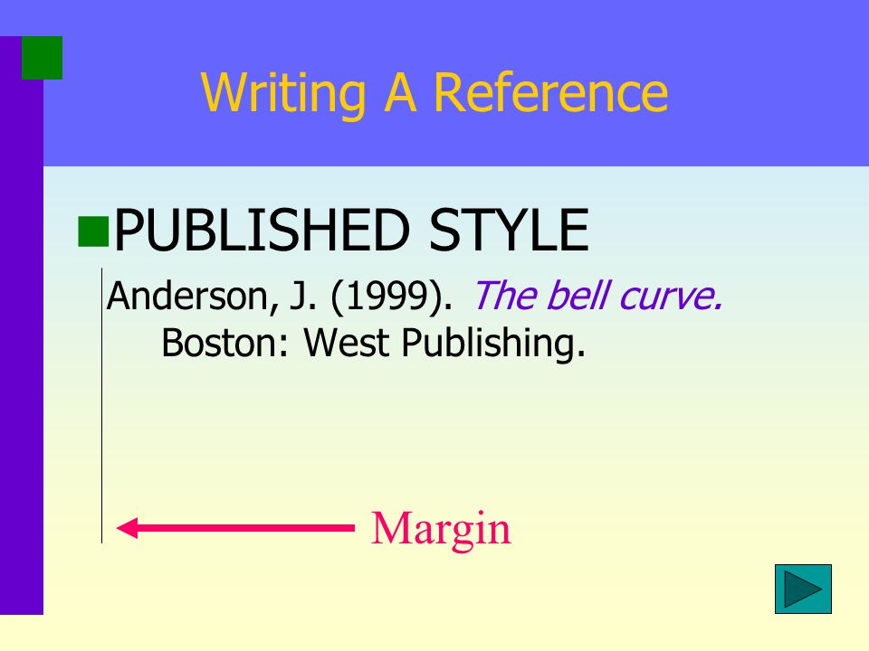 PUBLISHED STYLE Writing A Reference Margin