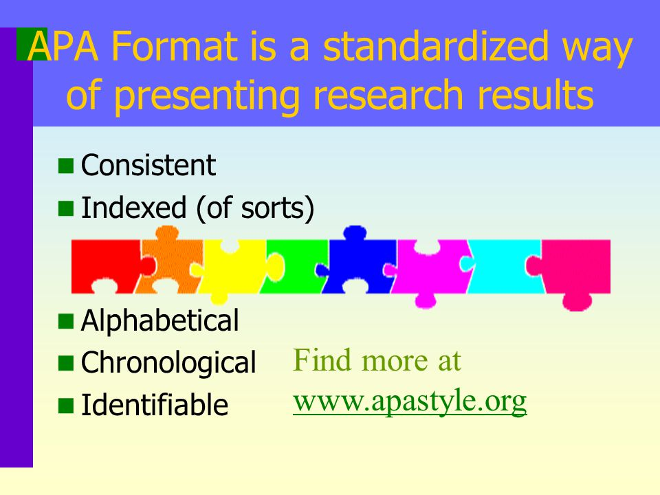 APA Format is a standardized way of presenting research results