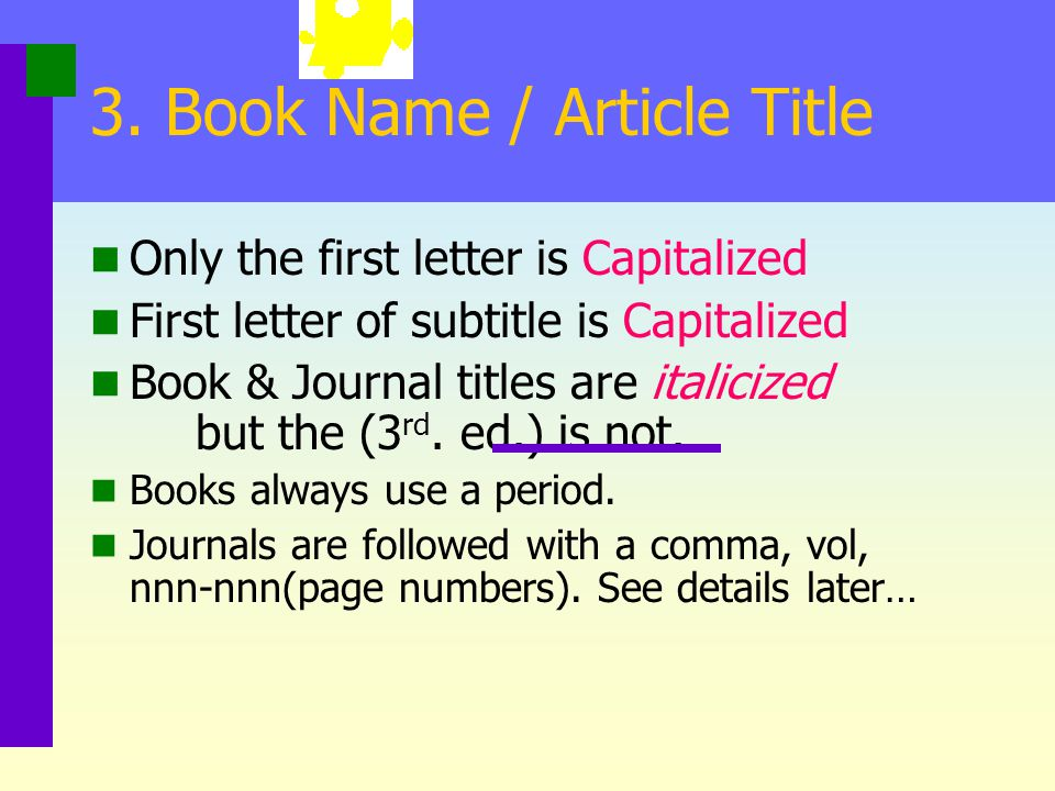 3. Book Name / Article Title