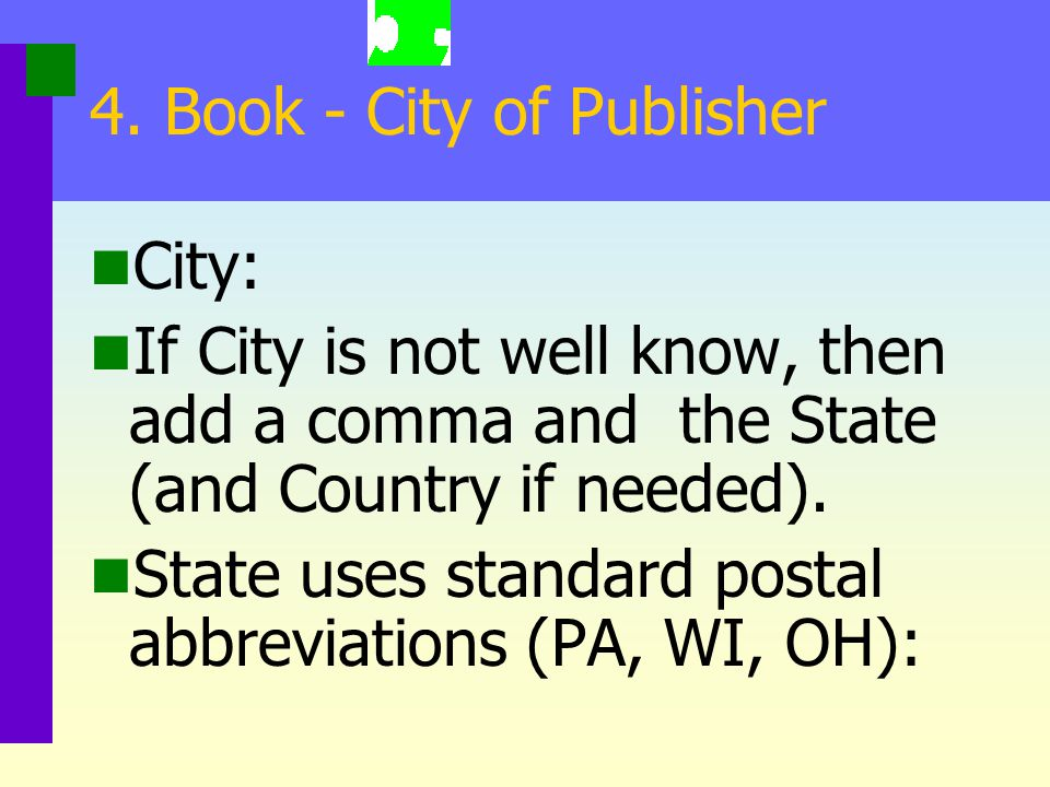 4. Book - City of Publisher
