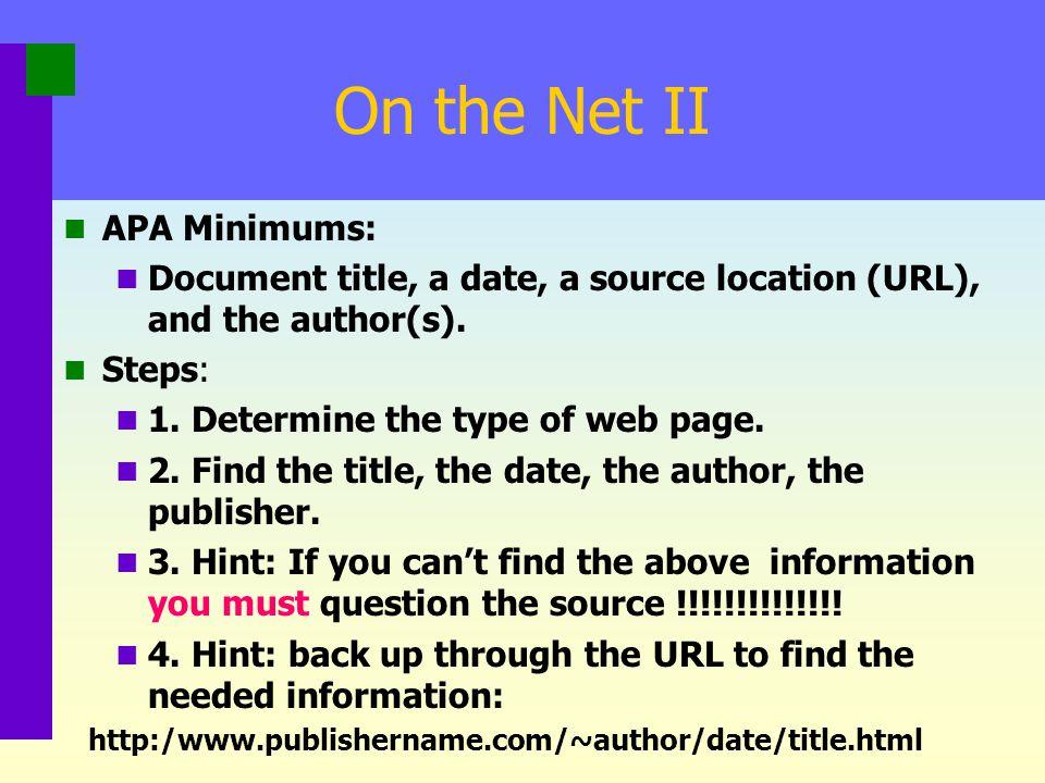 On the Net II APA Minimums: