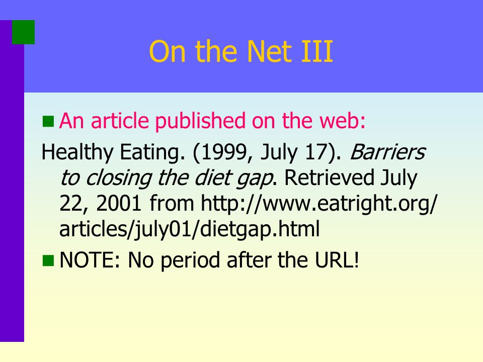 On the Net III An article published on the web: