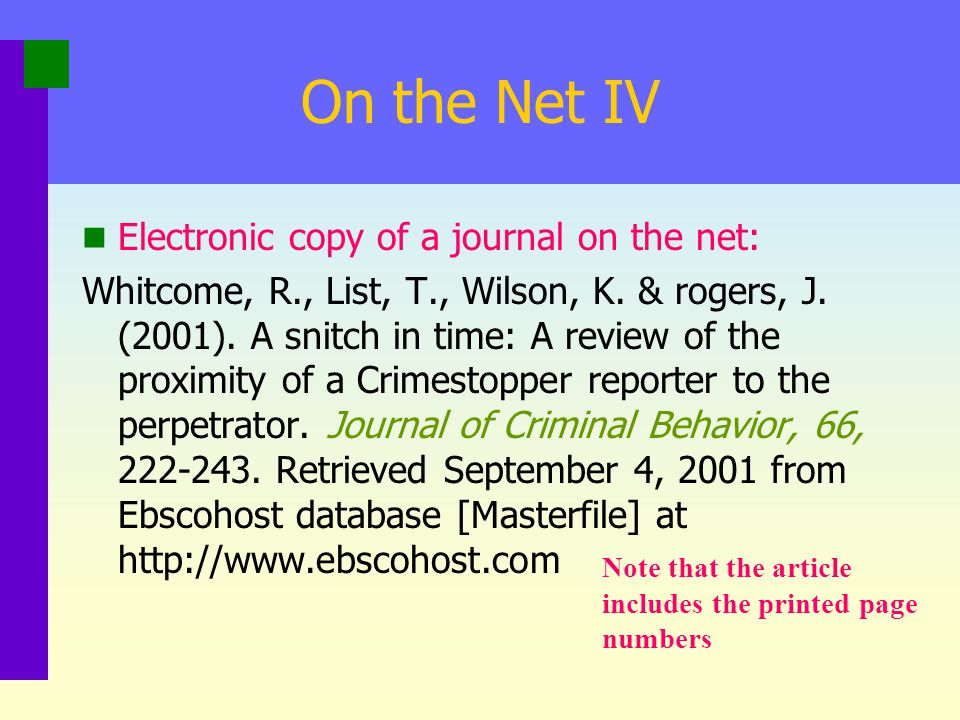 On the Net IV Electronic copy of a journal on the net:
