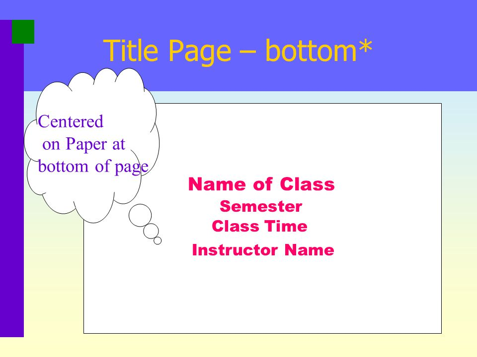 Title Page – bottom* Centered on Paper at bottom of page Name of Class
