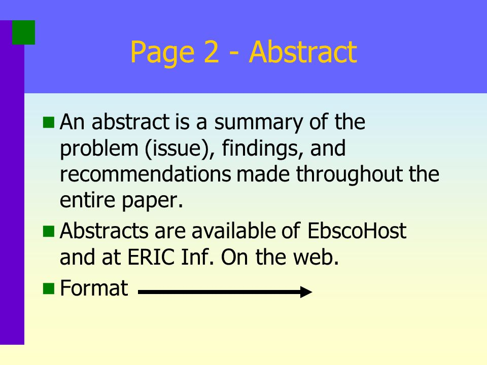 Page 2 - Abstract An abstract is a summary of the problem (issue), findings, and recommendations made throughout the entire paper.