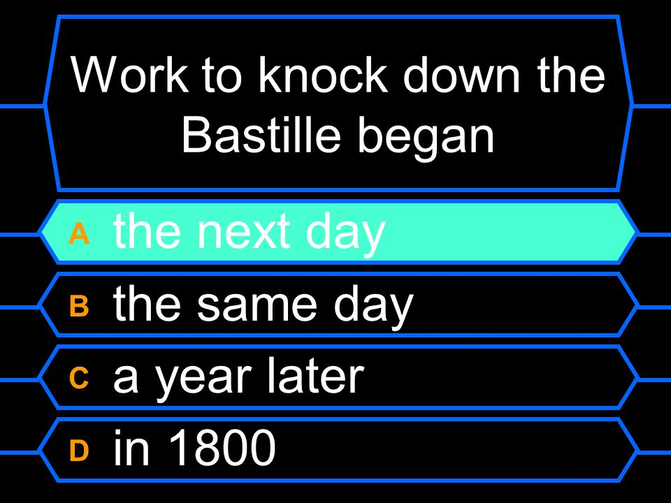 Work to knock down the Bastille began