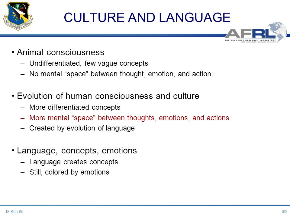 CULTURE AND LANGUAGE Animal consciousness