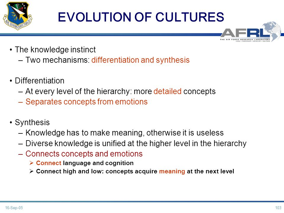 EVOLUTION OF CULTURES The knowledge instinct