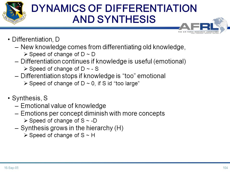 DYNAMICS OF DIFFERENTIATION AND SYNTHESIS