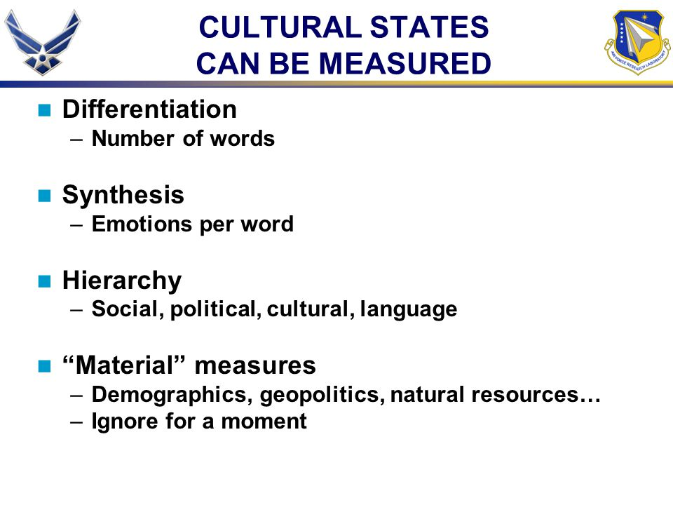 CULTURAL STATES CAN BE MEASURED