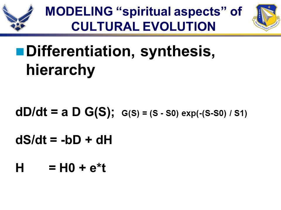 MODELING spiritual aspects of CULTURAL EVOLUTION