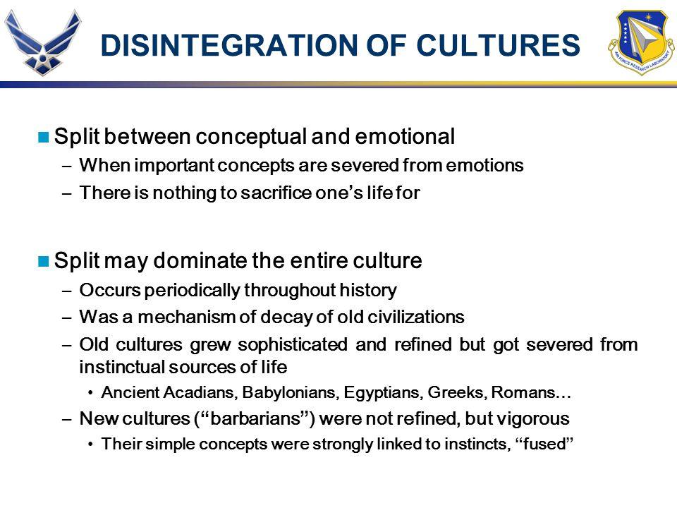 DISINTEGRATION OF CULTURES