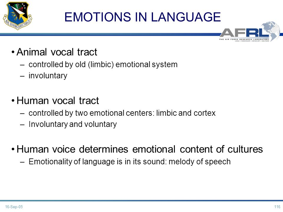EMOTIONS IN LANGUAGE Animal vocal tract Human vocal tract
