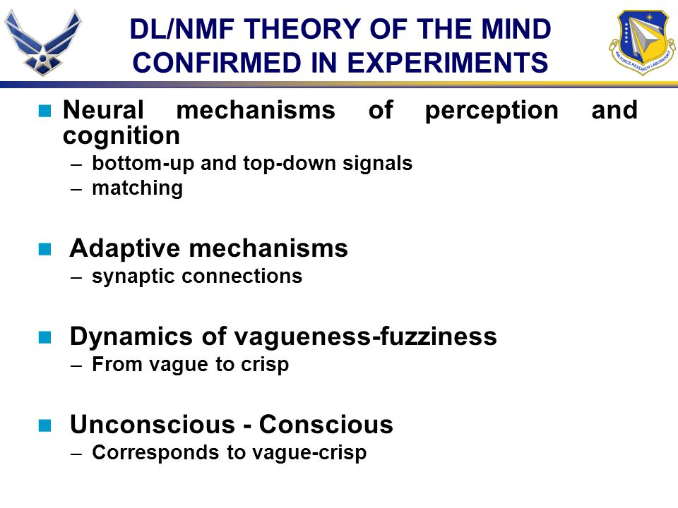 DL/NMF THEORY OF THE MIND CONFIRMED IN EXPERIMENTS