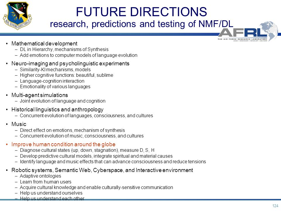 FUTURE DIRECTIONS research, predictions and testing of NMF/DL