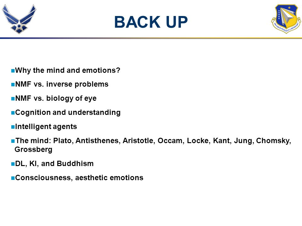 BACK UP Why the mind and emotions NMF vs. inverse problems