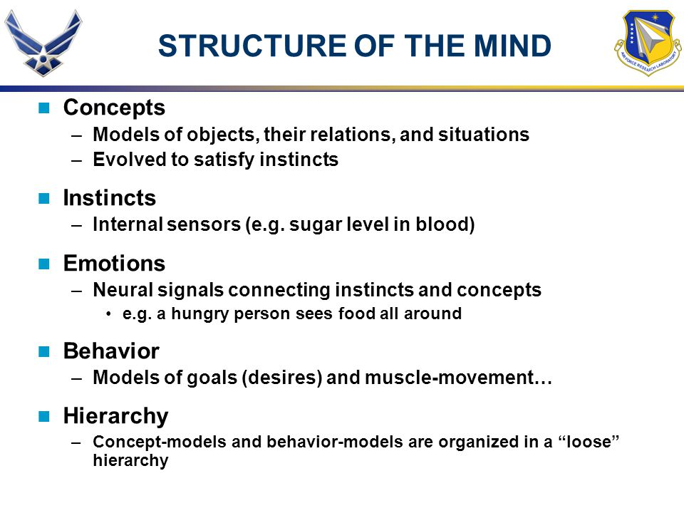 STRUCTURE OF THE MIND Concepts Instincts Emotions Behavior Hierarchy