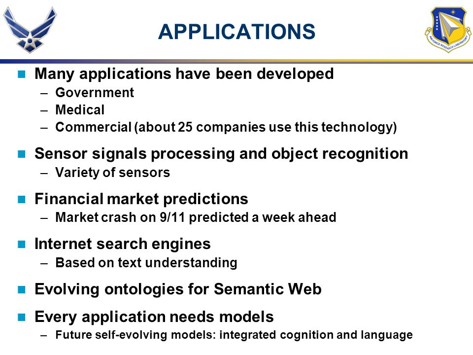 APPLICATIONS Many applications have been developed