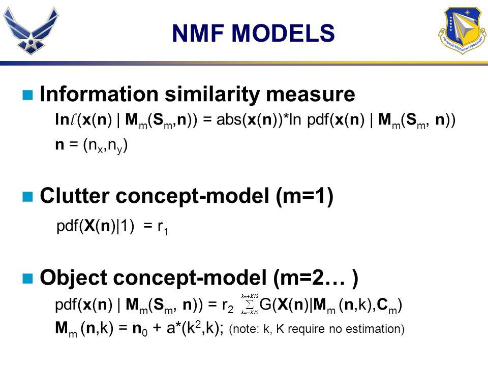 NMF MODELS Information similarity measure Clutter concept-model (m=1)