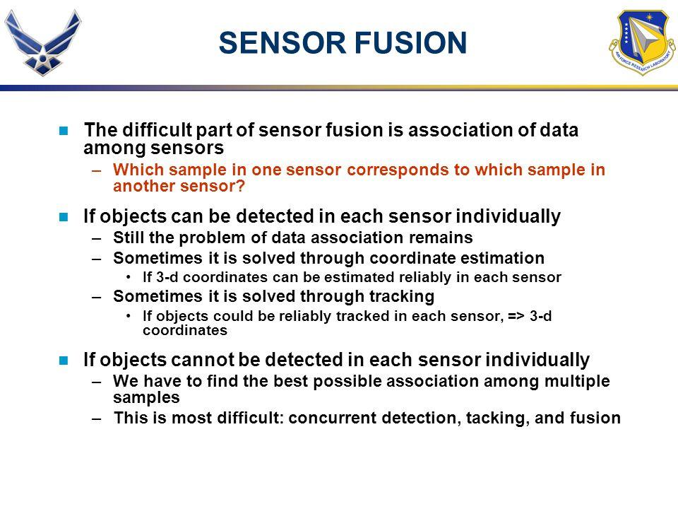 SENSOR FUSION The difficult part of sensor fusion is association of data among sensors.
