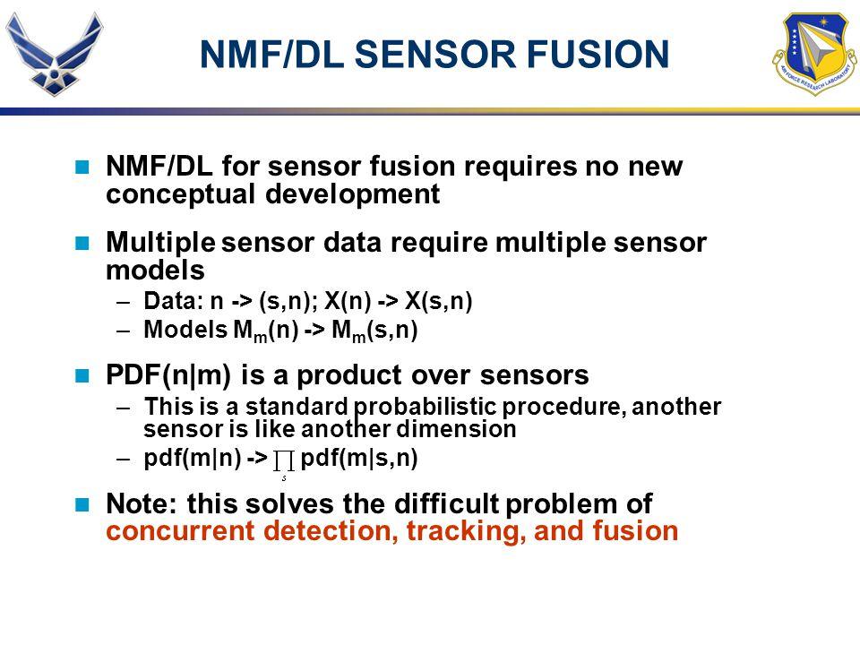 NMF/DL SENSOR FUSION NMF/DL for sensor fusion requires no new conceptual development. Multiple sensor data require multiple sensor models.