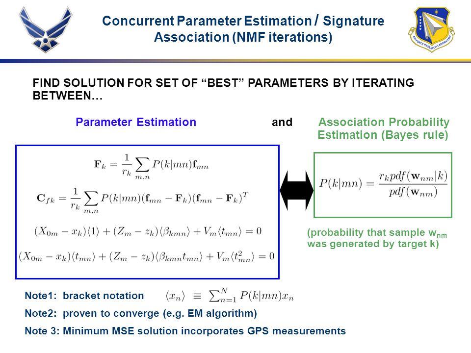 Concurrent Parameter Estimation / Signature Association (NMF iterations)