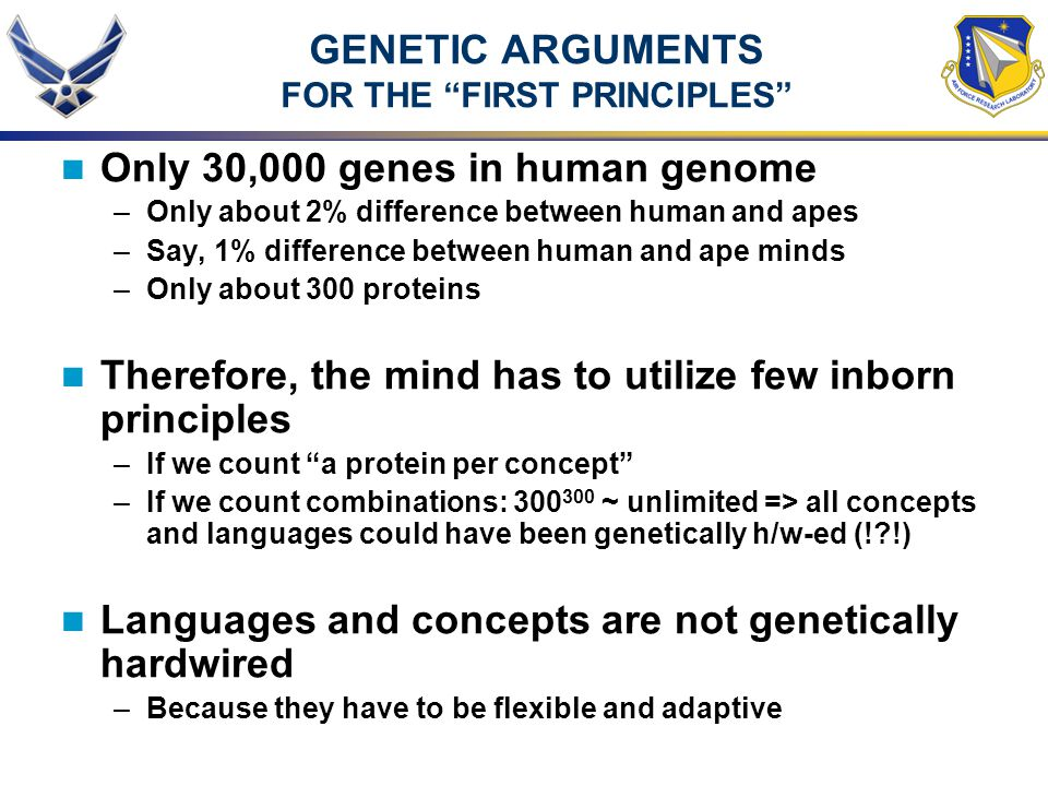 GENETIC ARGUMENTS FOR THE FIRST PRINCIPLES