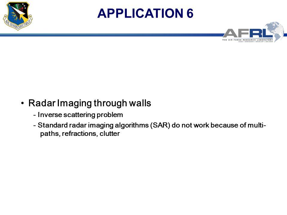 APPLICATION 6 Radar Imaging through walls - Inverse scattering problem