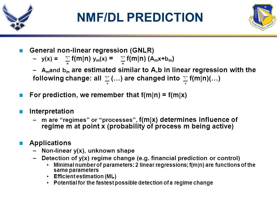 NMF/DL PREDICTION General non-linear regression (GNLR)