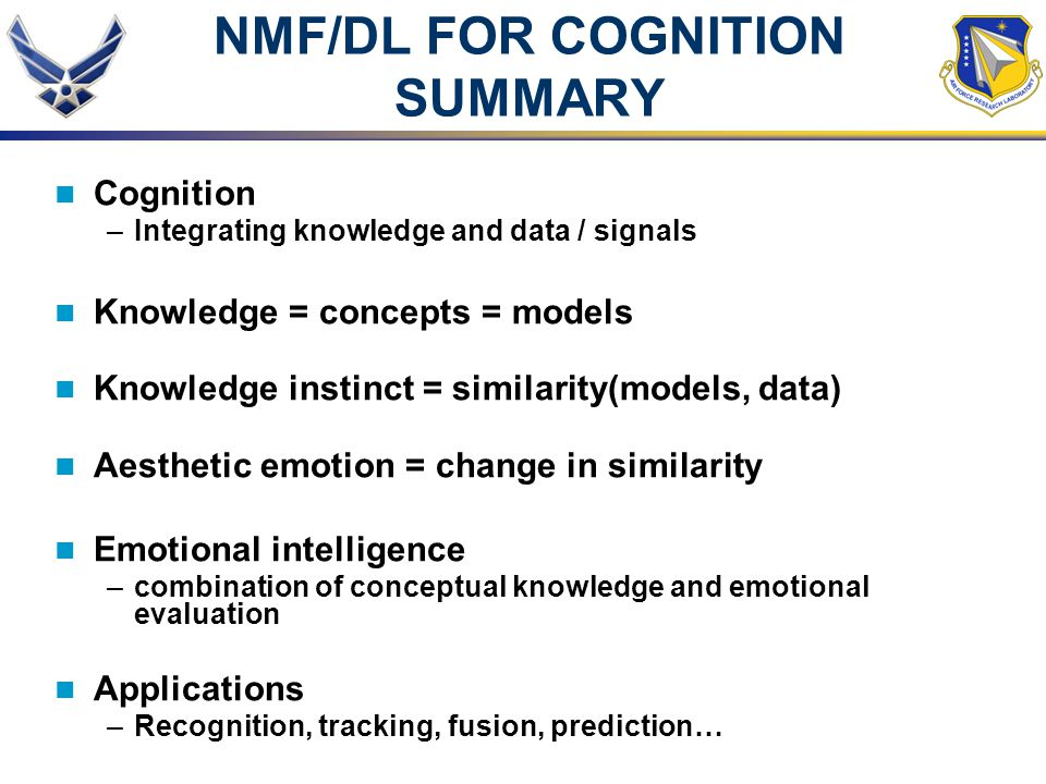 NMF/DL FOR COGNITION SUMMARY