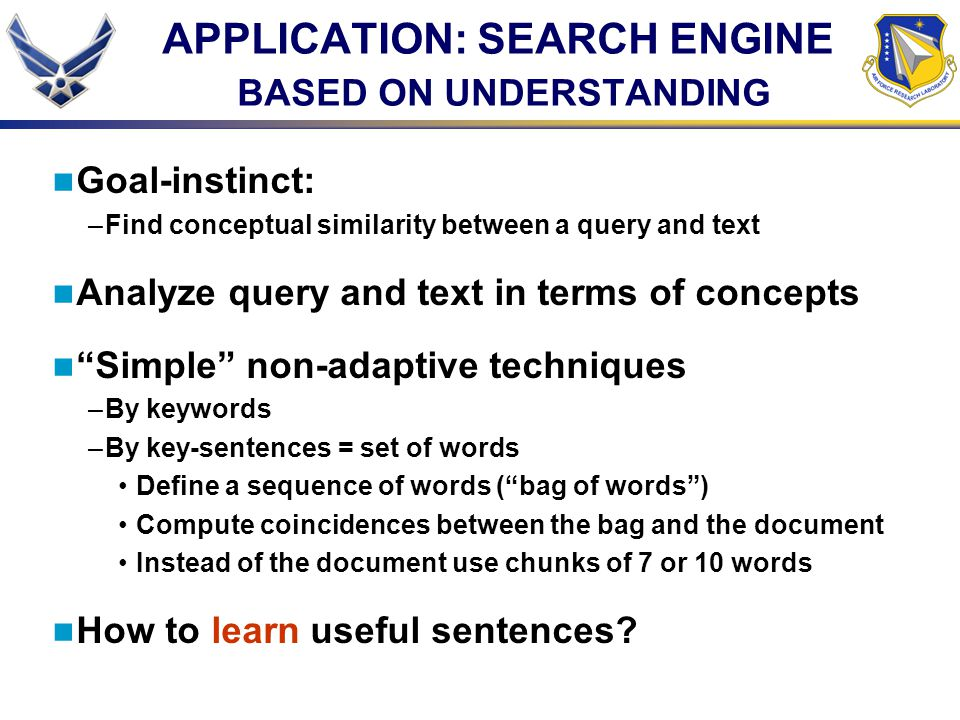APPLICATION: SEARCH ENGINE BASED ON UNDERSTANDING