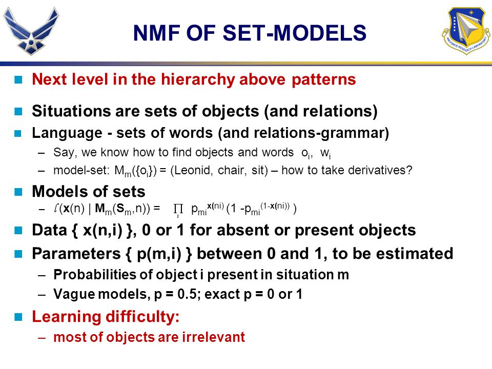 NMF OF SET-MODELS Next level in the hierarchy above patterns