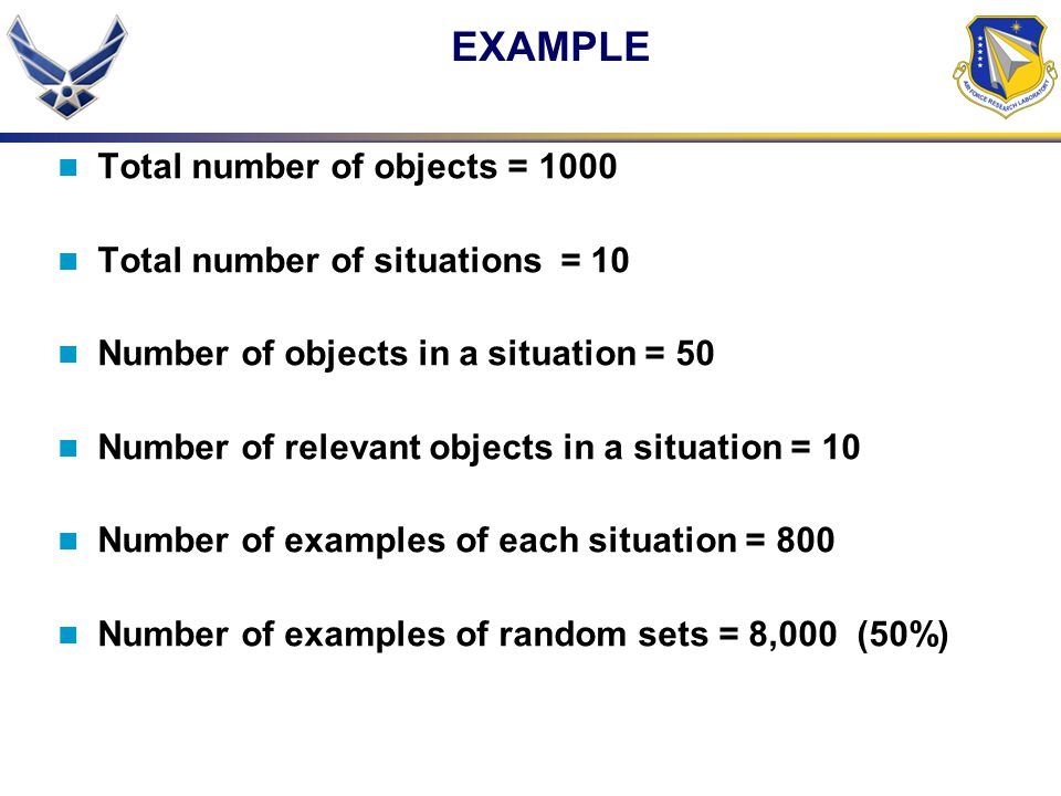 EXAMPLE Total number of objects = 1000 Total number of situations = 10