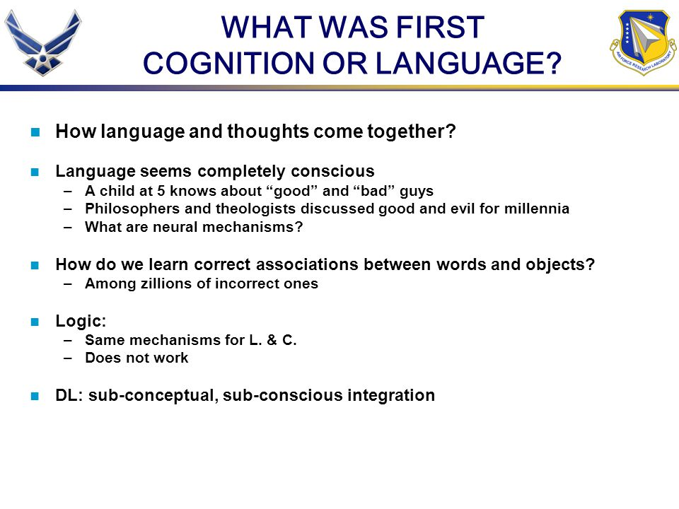WHAT WAS FIRST COGNITION OR LANGUAGE
