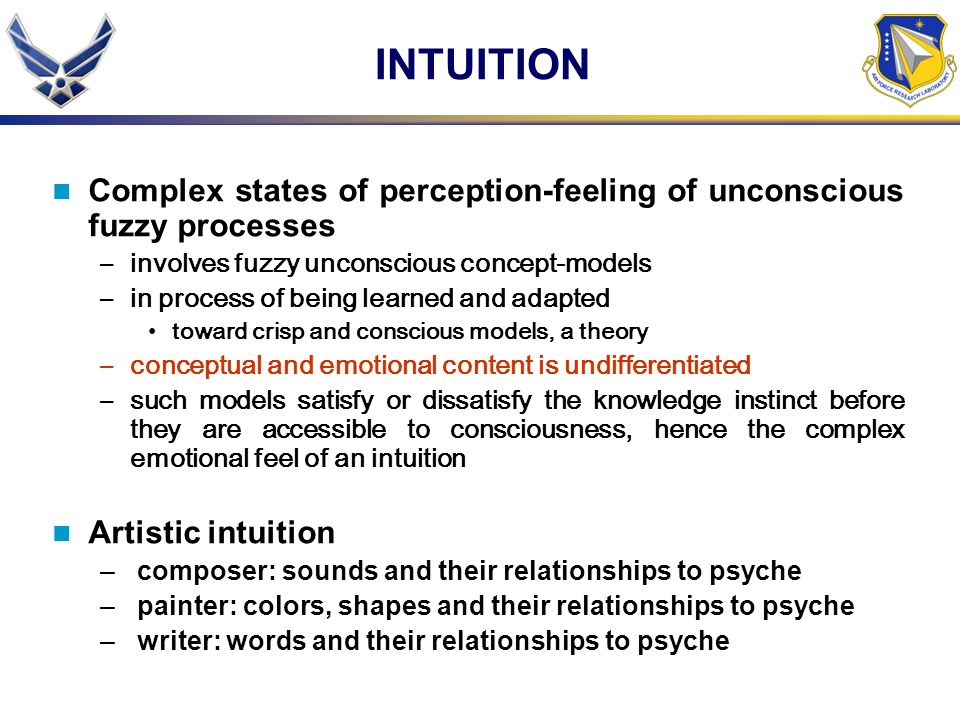 INTUITION Complex states of perception-feeling of unconscious fuzzy processes. involves fuzzy unconscious concept-models.